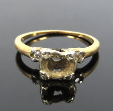 Antique 0.08ct Old Diamond & 14K White & Yellow Gold Semi Mount Ring for 5mm