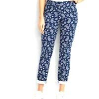 TALBOTS The Weekend Chino Blue White Paisley Colorful Stretchy Ankle Pants 4