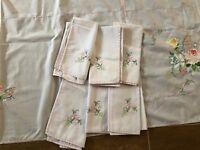 "Vintage Embroidered Tablecloth & 12 napkins 104"" x 70 floral handmade white set"