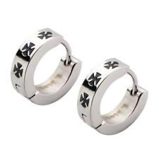 Stainless Steel Black Iron Cross Huggies Earrings