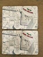 Vintage Hallmark Christmas Postcards 2 Packs Parade City Black And White