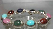 Handmade 10 Stone Mix Semi Precious Oval .925 Sterling Silver Bracelet Free Ship