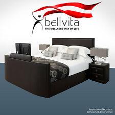 Luxus Wasserbett Softside Mesamoll 2 + Designer Bettrahmen aus Echtleder mit TV