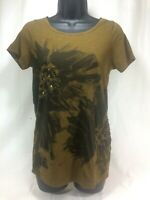 J Crew Womens Green Floral Sequin Top T Shirt Short Sleeve Size Small