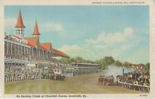 An Exciting Finish At Churchill Downs Racetrack, Louisville - 1950s Postcard