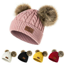 Winter Hat For Girls Baby Boys Pom Poms Hat Children Knitted Beanies Thick