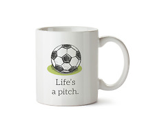 Life's a Pitch Ceramic Mug Football Pitch Cup Goal Sport Tea Novelty 10oz Gift