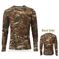 Long Sleeve CP Camo Crewneck T-Shirt Mens for Hunting Camping T-Shirts Durable
