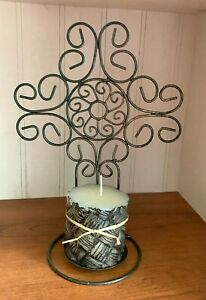 """Scroll Open Design Metal Wire Cross Candle Holder Sconce w/Woven Look 4"""" Candle"""