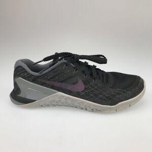 Nike Womens Metcon 3 Running Shoes Black Metallic 922880-001 Laces Low Top 7.5 M