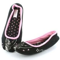 Ladies Disney Tinkerbell Glamour Black Slippers Sizes 4-8