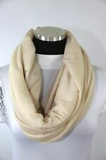 B85 Seamless Soft Beige Ivory Infinity Scarf Raw Edge Fabric Stretch