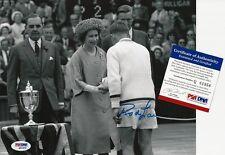 ROD LAVER SIGNED 1962 WIMBLEDON QUEEN ELIZABETH II  8x10 PHOTO PSA/DNA COA