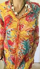 THREADZ WOMENS TOP BUTTONS LONG SLV FLORAL PRINT POLY SZ L