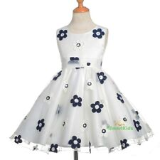 Ivory Blue Flower Girl Formal Occasion Dress Wedding Party Birthday Size 4 FG318