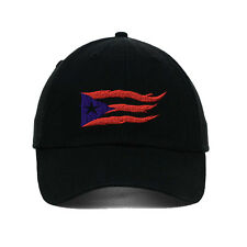 Puerto Rico Flame Flag On Black Embroidered SOFT Unstructured Adjustable Hat Ca