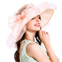Women Foldable Organza Church Derby Hat Ruffles Wide Brim Summer Bridal Cap