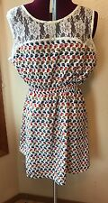 Owl Dress SZ L Sleeveless Mini Lace Cinched Waist Spring Summer Whispers Jr