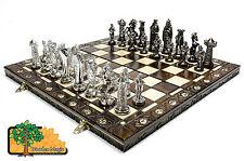 Médiéval argent-large 42cm/16.5in artistique chrome plastique chess set