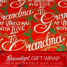 Vintage Christmas Gift Wrap Paper GRANDMA American Greeting Personalized Family