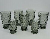 Set of 7 FEDERAL GLASS YORKTOWNE SUNDOWN SMOKE GRAY FOOTED TUMBLERS EUC
