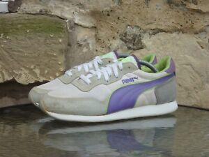 Vintage 1990s Puma Arrow UK8.5 / US9.5 White Purple Runners Sneakers OG Rare 90s