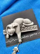 Chelsea Pewter Cat & Mouse pewter brooch