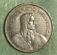 1932-B  SWITZERLAND SWISS SILVER 5 FIVE FRANC NICE COIN. FREE SHIPPING.
