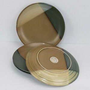 "Set of 4 Sango Gold Dust Green 10.75"" Dinner Plates #5040 EUC"