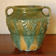 Stunning Zanesville Stoneware Pottery 2-Handled Vase Forest Green Overflow #838