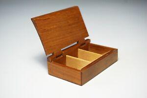 Vintage 60s Little Wooden Box Stamps Box Teak Wood 1.102Z