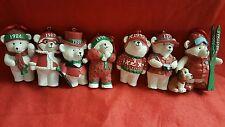 Lot of 7 VINTAGE Ceramic Snow BEAR Christmas ORNAMENTS - ASST 1986-2004