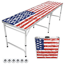 GoPong Portable Aluminum 8' Folding Beer Pong American Flag Drinking Table