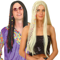 Hippie Wig Black or Blonde 60's 70's Hippy Mens Womens Fancy Dress Costume