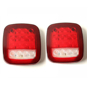 A Pair Universal Truck 16 LED Stud Mount Stop Car Turn Signal Light Red / White