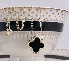 Black Onyx 4 Leaf Clover & Solid 14k Gold Pendant/Necklace, 16.75""