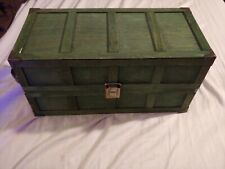 Wooden Doll Box Green With Floral Pattern Inside