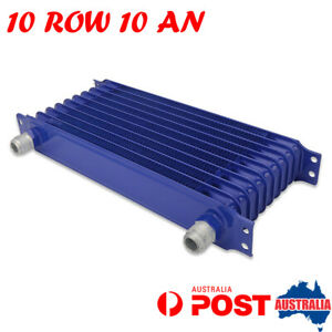 Universal 10Row 10AN Engine Transmission Oil Cooler Blue Powder-Coated Aluminum