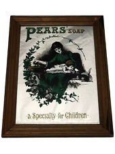 More details for fine nice 20th century vintage pears children soap advertising wall glass mirror