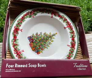 Christopher Radko HOLIDAY CELEBRATIONS Christmas Rimmed Soup Bowls SET of 4 New
