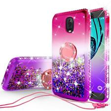 LG Stylo 3 Plus Diamond Glitter Ring Liquid TPU Phone Case With Neck Strap Cover