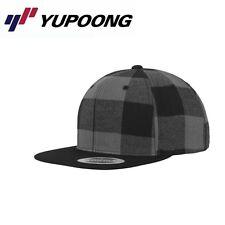 Yupoong Checked Flanell Snapback Cap Schwarz Grau
