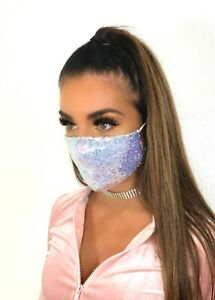 Mother of Pearl Sequin Face Mask Shopping, Party, Wedding