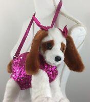 Poochie & Co Girls Plush Handbag King Charles with Pink Sequin Bag Strap