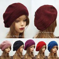 Women's Fall Spring Winter Crochet Knit Slouchy Beanie Beret Cap Hat One Size