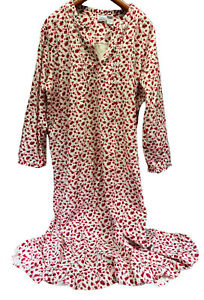Only Necessities 100% Cotton Flannel Long Nightgown Women Size 2XL Red Floral