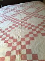 "Antique Vintage Patchwork Cotton Quilt Hand Quilted Quilt  Pink White 70"" x 82"""