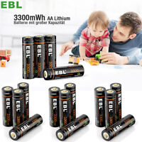 Lot EBL USB Rechargeable AA Battery 1.5V 3300mwh Li-ion Lithium Batteries +Cable