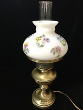 Vintage Brass Gone With The Wind GWTW Milk Glass Flower Shade Table Lamp