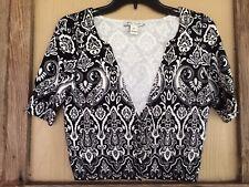 White House Black Market Sweater Cardigan Sz. M Black Ivory Paisley Damask SS